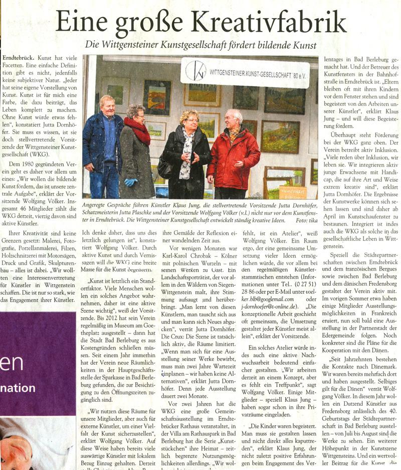 Artikel aus der Südwestfalenpost vom 14. März 2015