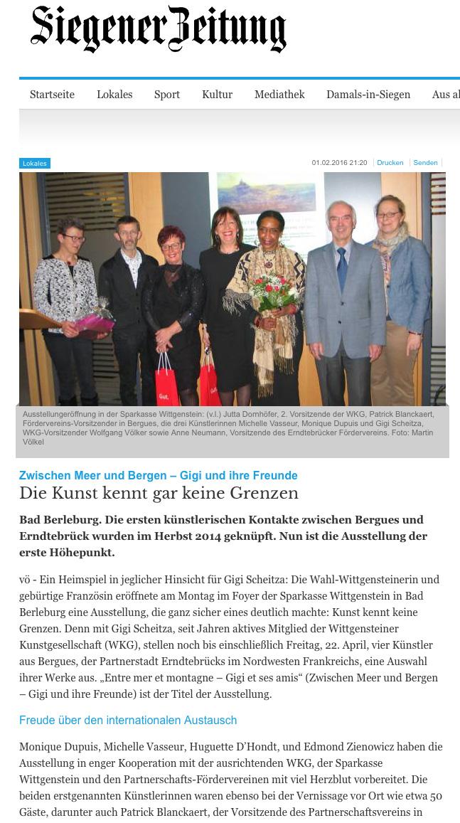 Siegener Zeitung vom 1.2.2016