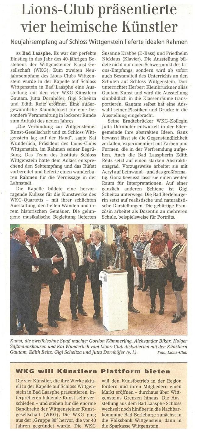 Siegener Zeitung Pressestimme zur Wittgensteiner Kunstgesellschaft